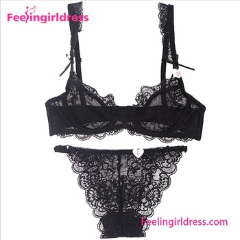 e74565198264d Charming Black Underwire Floral Embroidery Bra and Panty Set Underwear