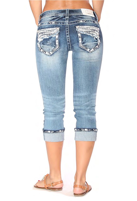 8739a6a6de2 Get Quotations · Grace in LA Idol Easy Fit Embellished Medium Wash Capris Women s  Jeans