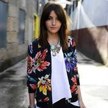 Ladies Long Sleeved National Printing Female Jacket Thin Coat Small Jacket MT105487