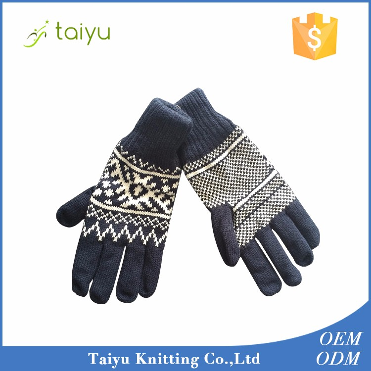 Jacquard Design Acrylic Navy blue Knit Gloves