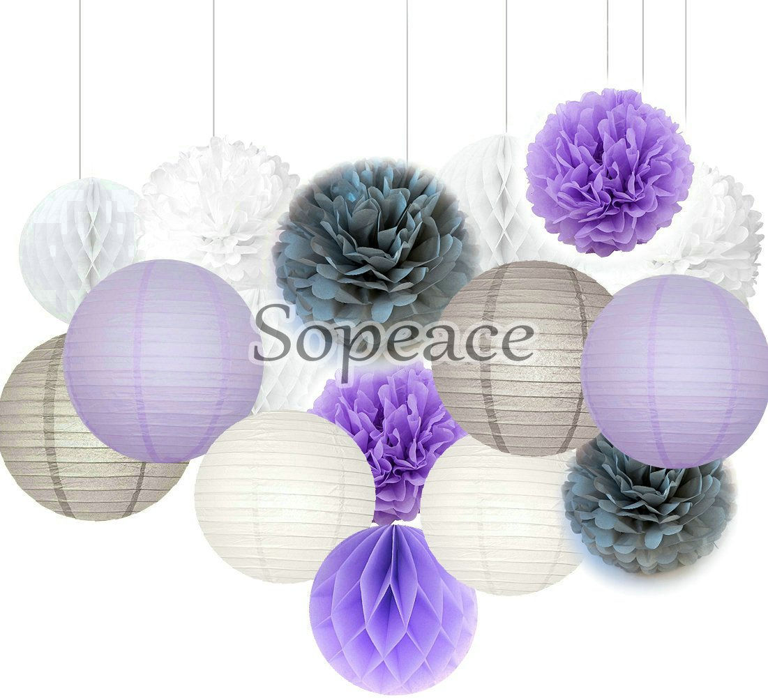 033f8417911d Get Quotations · Sopeace 16 pcs White Lavender Grey 10inch 8inch Tissue  Paper Pom Pom Paper Lanterns Mixed Package