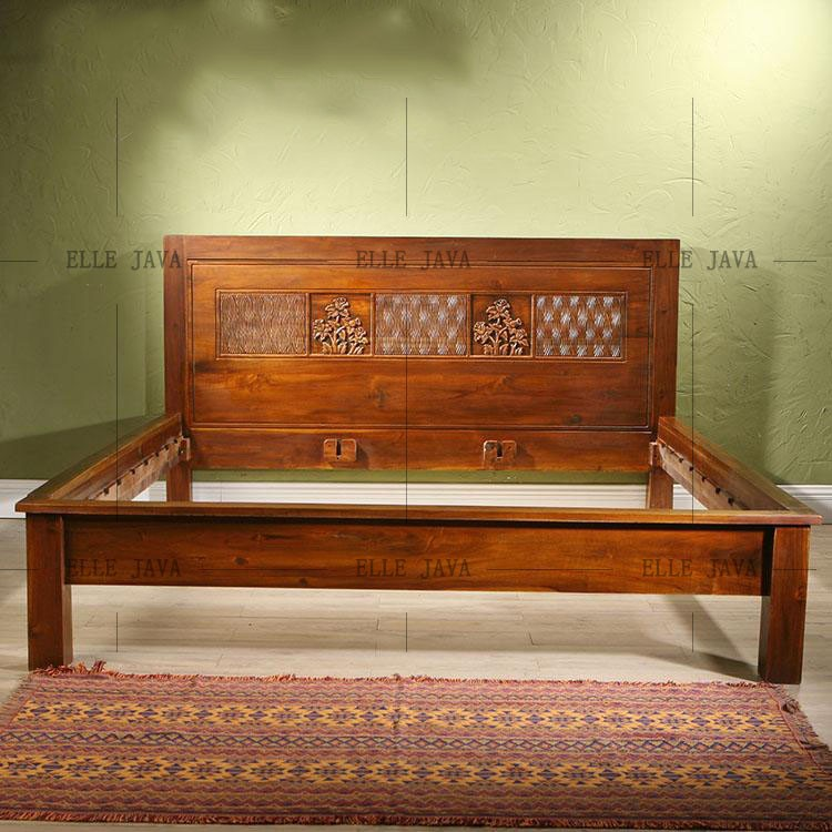 Hand Carved Bed: 2016 Hot Sale Antique Wooden Bed Hand Carving Simple