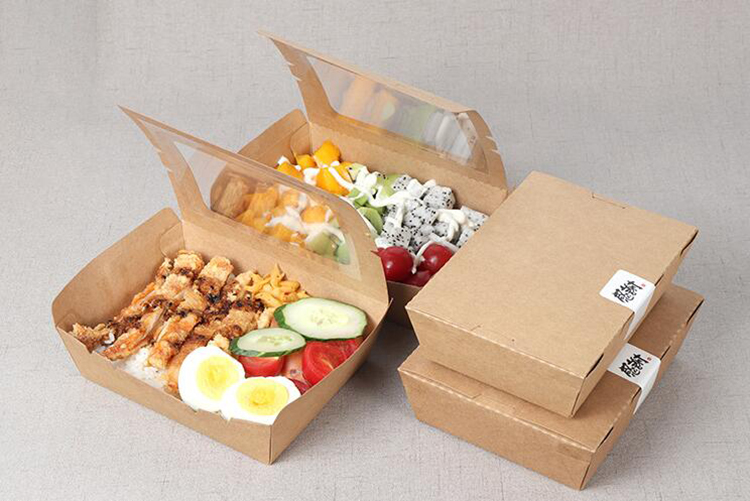 Disposable cardboard paper salad box with window