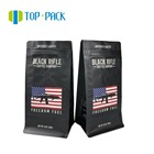 Matt Black Custom Printing 12oz Flat Bottom Aluminum Foil Coffee Bean Bags With Valve