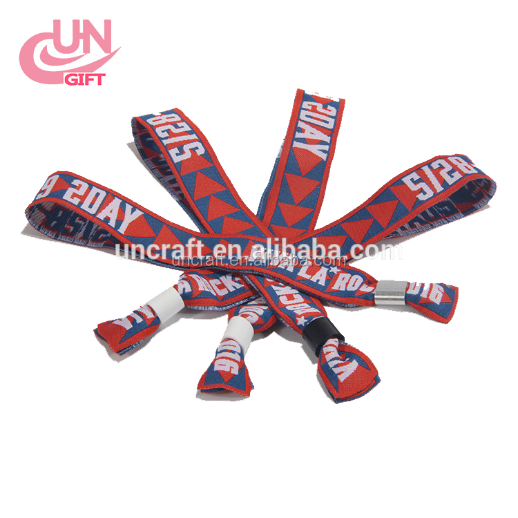 Heat transfer woven wrist strap music festival admission woven bracelet with custom logo