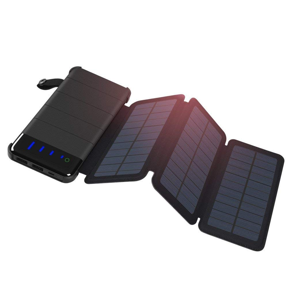 Sidney Wollaston Solar Charger 10000mAh Power Bank with 2 Solar Panels with LED for Travelling