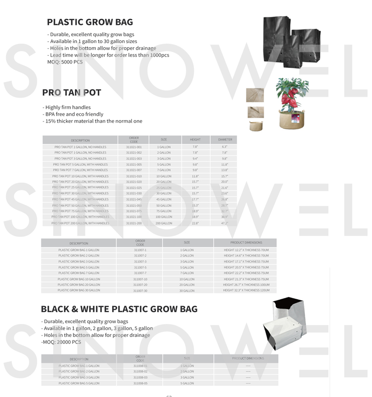 Plastic grow bag for hydroponics
