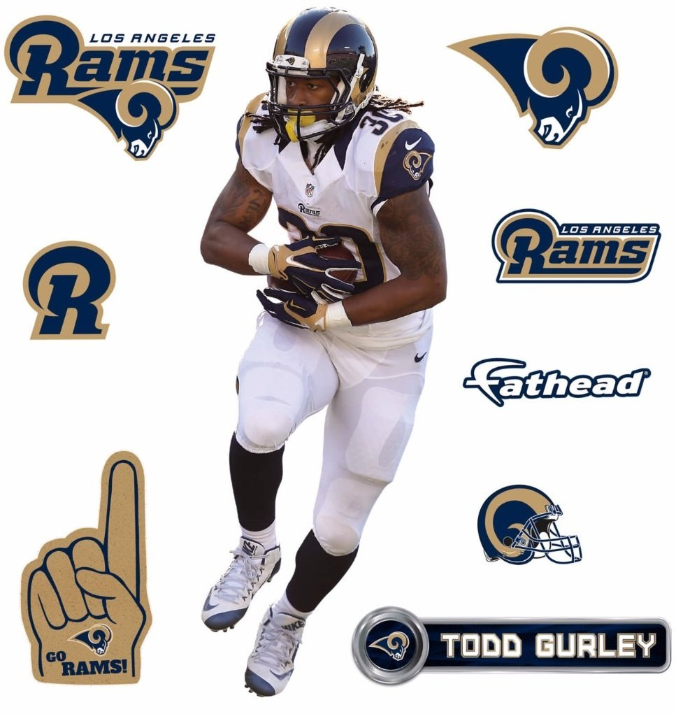 9f93662e345 Todd Gurley FATHEAD Los Angeles Rams Logo Set Official NFL Vinyl Wall  Graphics 16