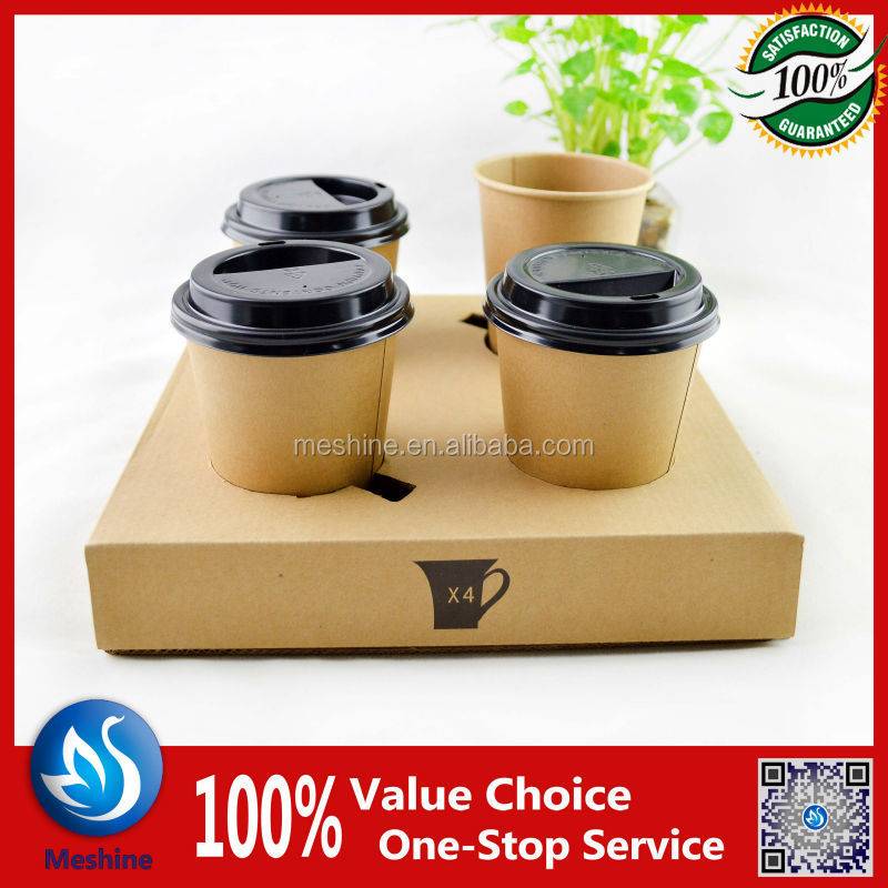 folding tray 2 /4 cavities paper beverage holder/carrier/tray