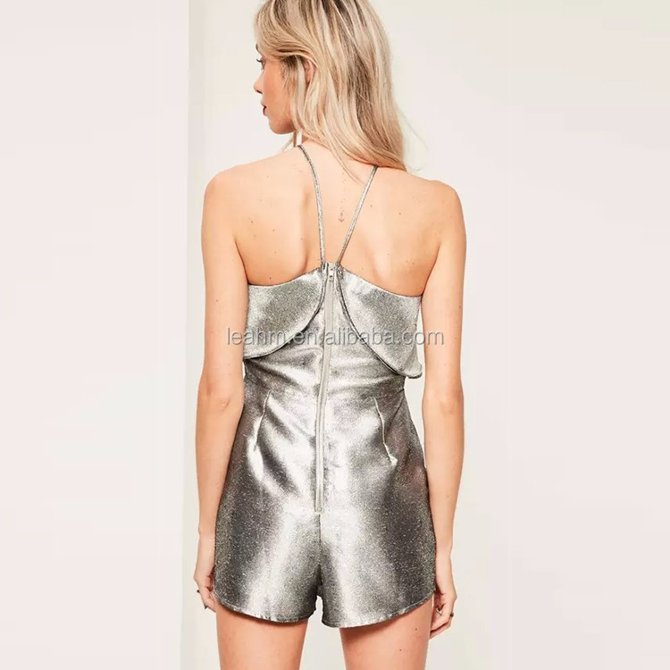 Guangzhou Supplier Fashion silver double layer halter romper women summer sexy playsuit for wholesale