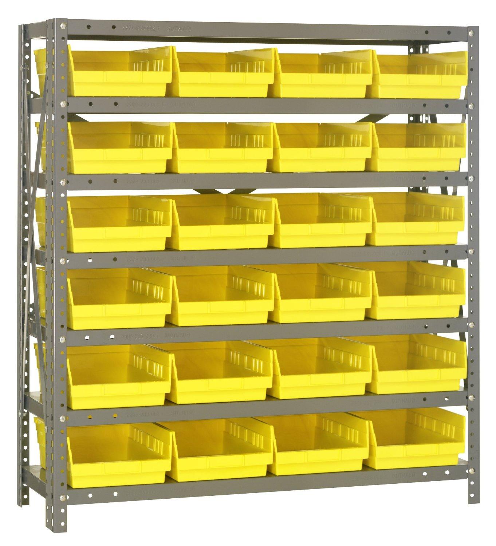 "Quantum Storage Systems 1239-107YL Shelf and Bin Unit, 12"" D x 36"" W x 39"" H, Yellow"