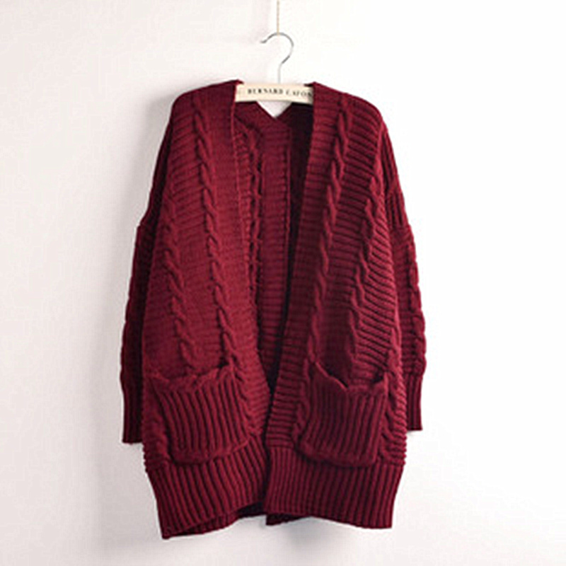 High Quality Pockets Striped Warm Womens Knitted Long Sleeve Outerwear Cardigan Women Fashion 2015 Fall Winter Sweater MF37