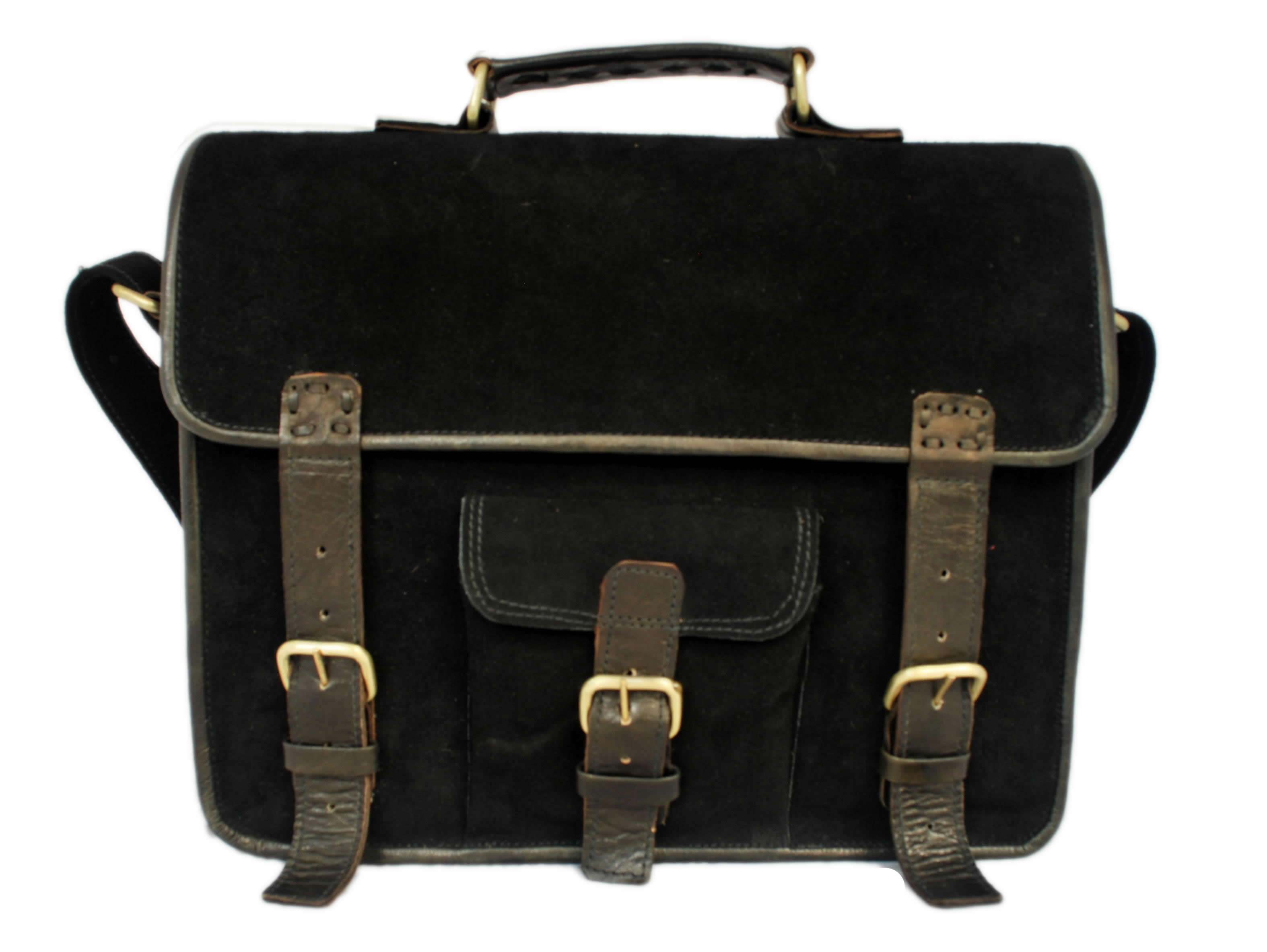 Handmade Genuine Leather Black Suede Laptop Bag And Suede Satchel ...