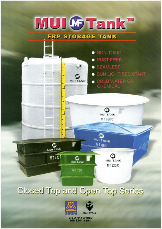 FRP COLD WATER AND CHEMICAL STORAGE TANK