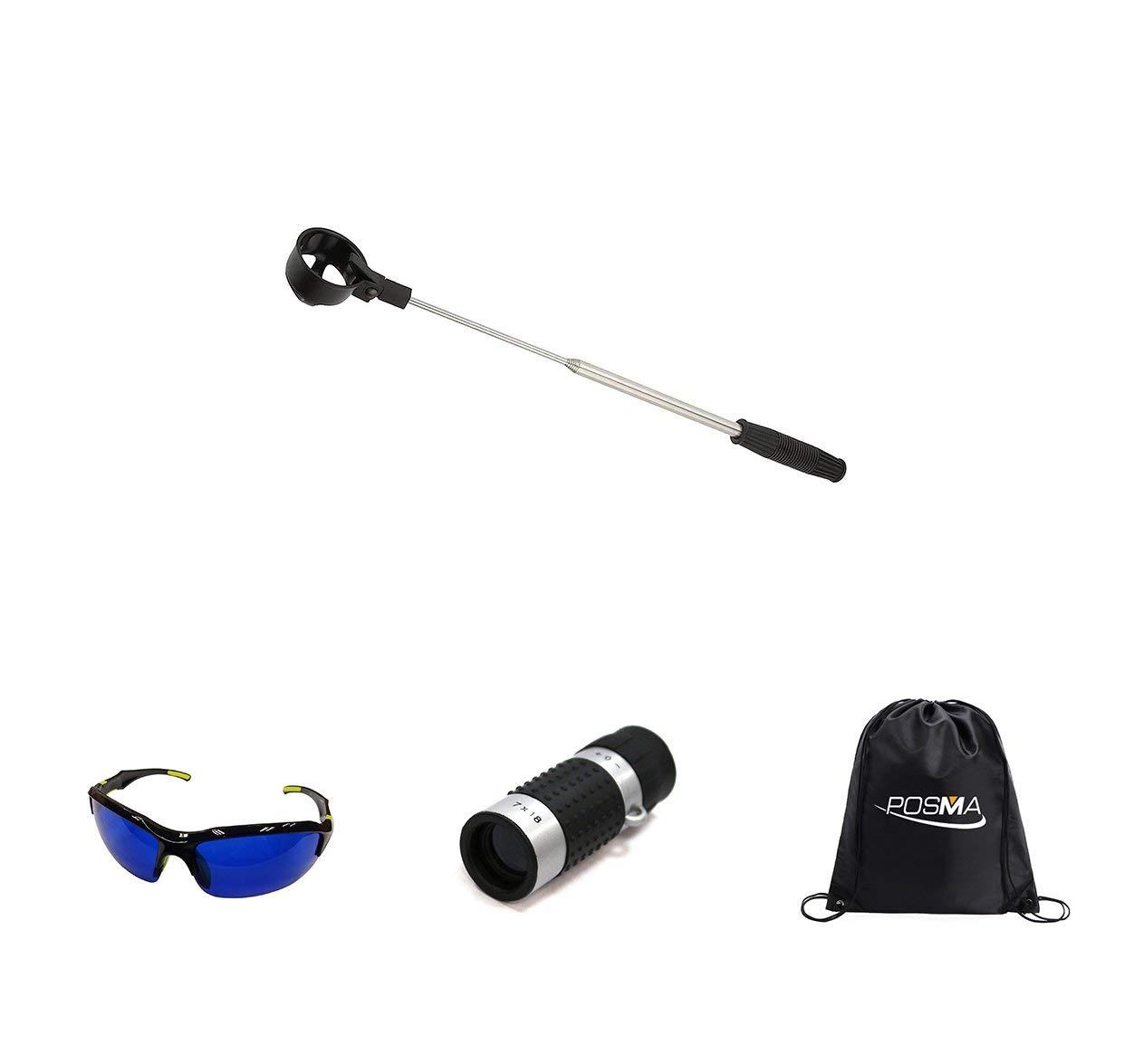 POSMA BR050K Golf 5 section Retrectable 2m Golf Ball Retriever Bundle Set with 1pc Golf Ranger Finder(GF100) + 1pc Golf Ball Finder Hunter Retriever Glasses + 1pc black cinch sack carry bag