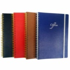 Promotional spiral diary soft cover notebook custom leather journal with elastic