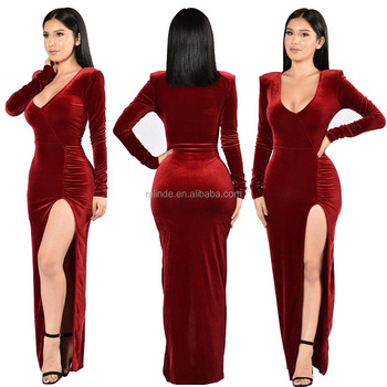 Christmas Evening Dresses.Women S Fashion Sexy Elegant Dress Deep V Neck Split Evening Gown Long Velvet Dresses For Cocktail Christmas Party Office Dress Buy Long Evening