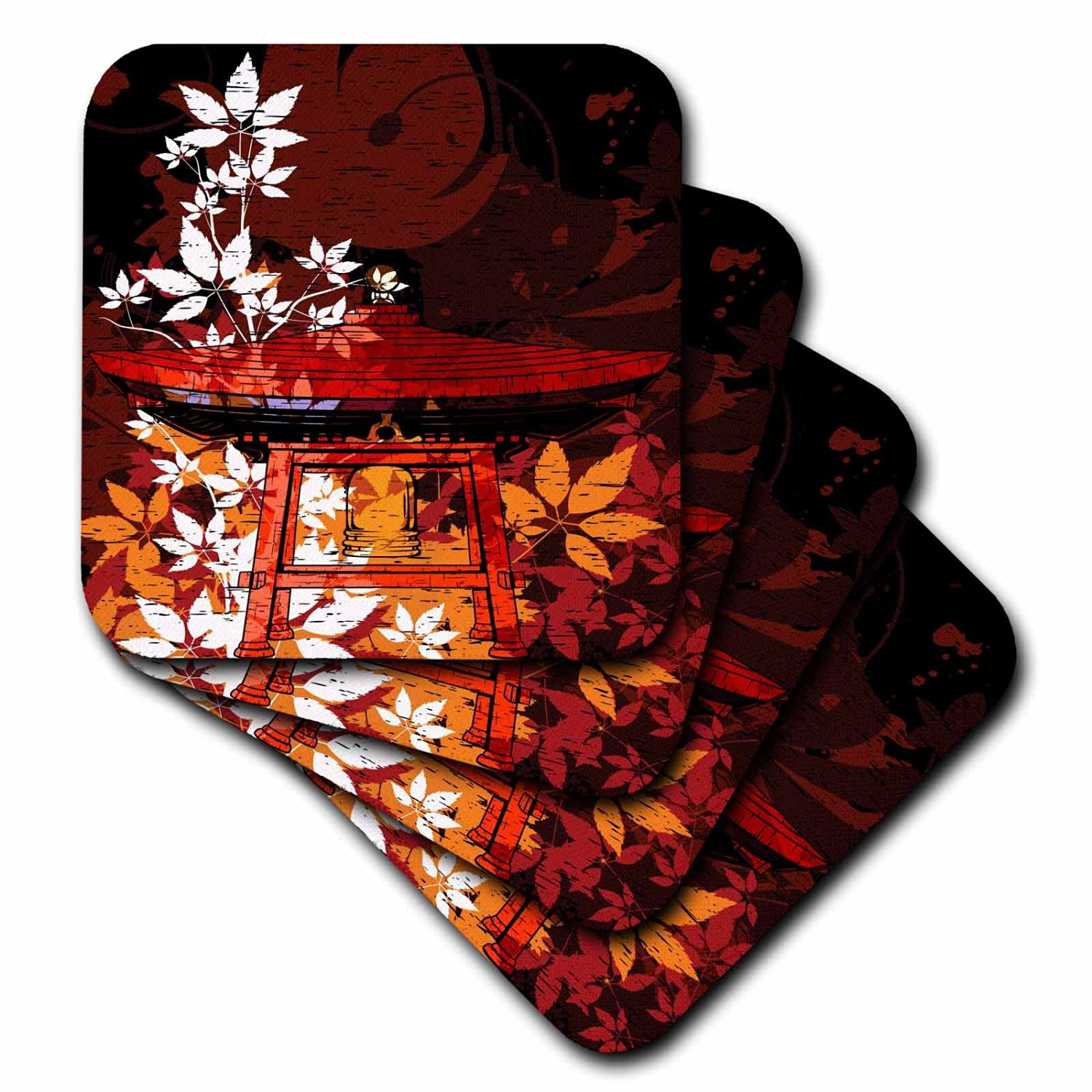 3dRose cst_116381_1 Pretty Ornate Japanese Bell Gong Decorated with Foliage Asian Oriental Art Soft Coasters, Set of 4