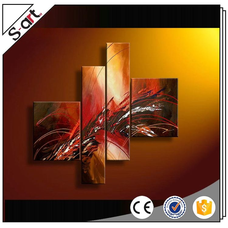 Excellent quality crazy selling colors abstract oil painting 4 panels