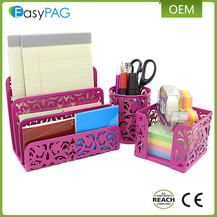 EasyPAG 3 in 1 Bureau Organizer Executive Office Set-Brief Sorter, potlood Houder en Stok Note Houder, Roze