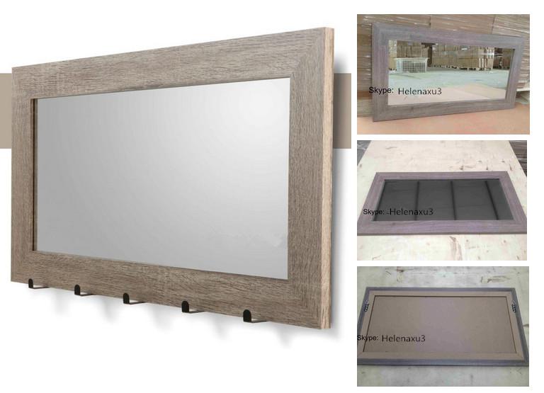 Spiegel Met Hout : Hout papier gewikkeld mdf ingelijst muur spiegel met haken buy