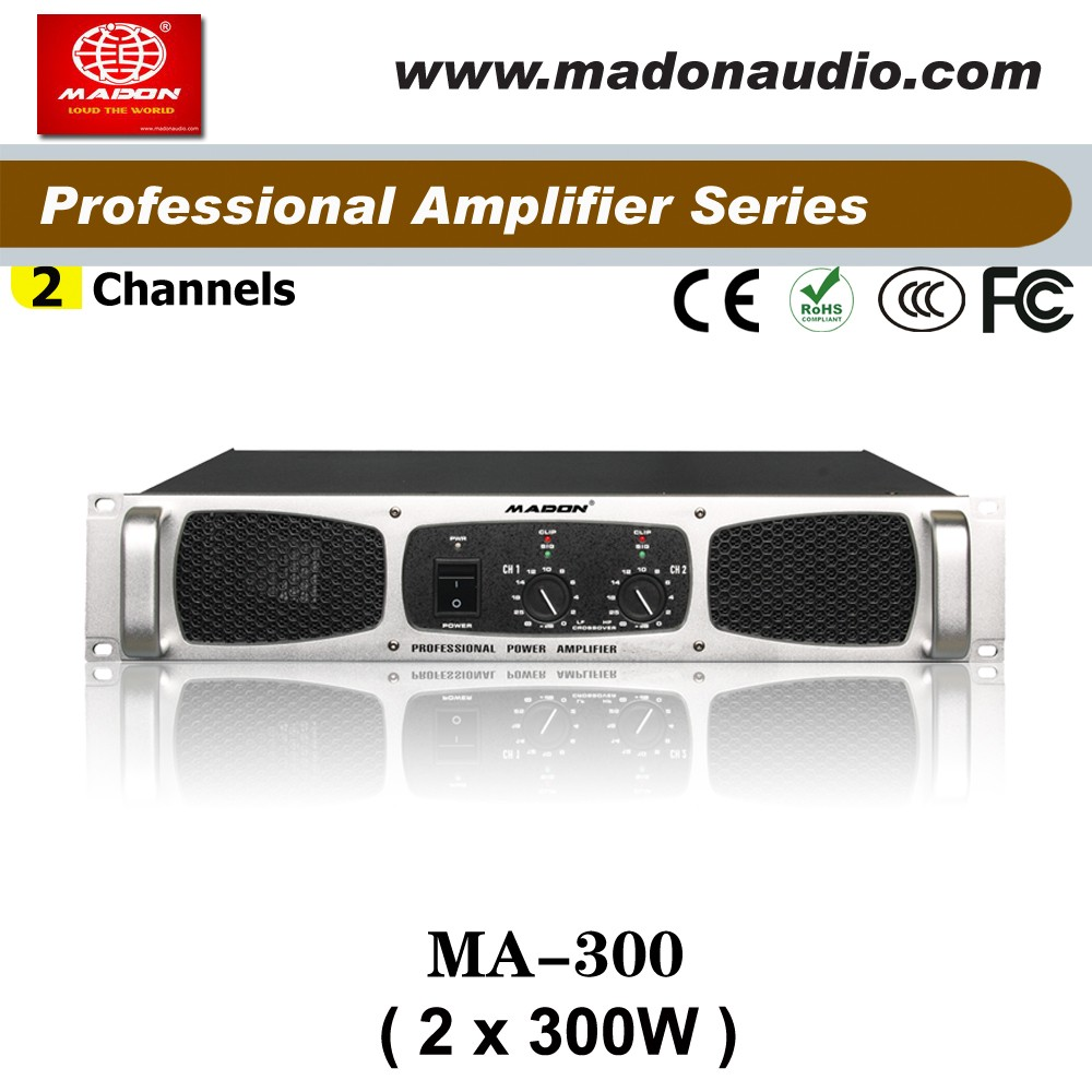 MA-300 2channel power amplifier Class AB output 2x300W anology amplifier for meeting,karaoke,club