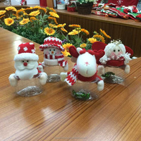 Christmas Plastic Jar,Christmas Plasic Jar Container,Cheap Plush Santa Snowman Plastic Christmas Candy Jar