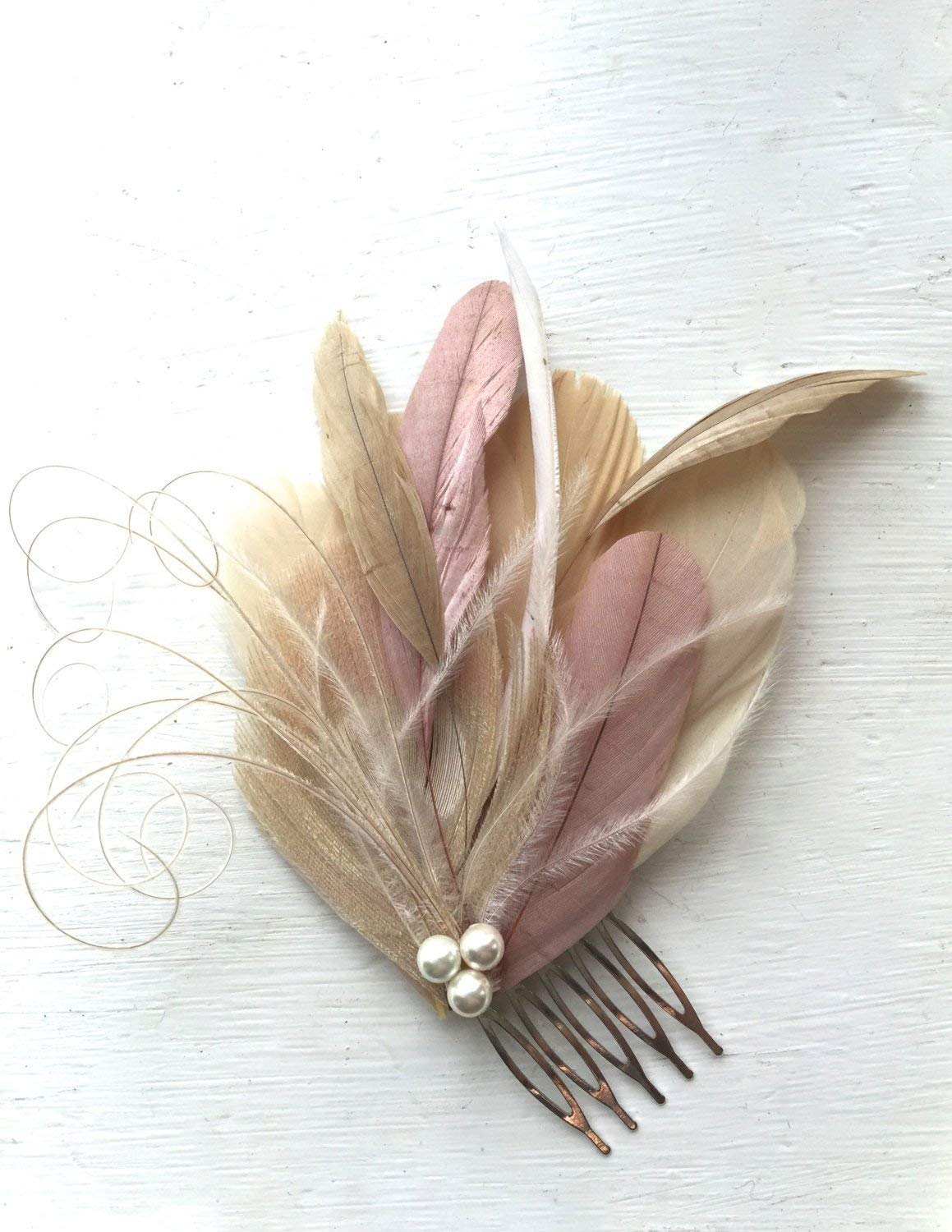 Oh Lucy Handmade LANE Peacock Feather Fascinator with Pearl, Feather Hair Comb, Bridal Hair Piece in Champagne, Dusty Rose, and Ivory