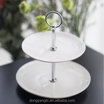 Factory wholesale white round wedding dessert cake plate, tools baking ceramic 2 tier cake stand