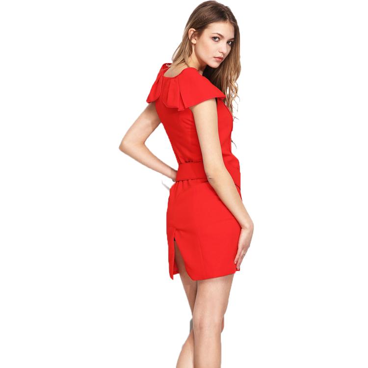 400d00655 Sencillo vestido rojo sexy vestido de boda cinturón con superposición de gasa  elegante vestido de fiesta