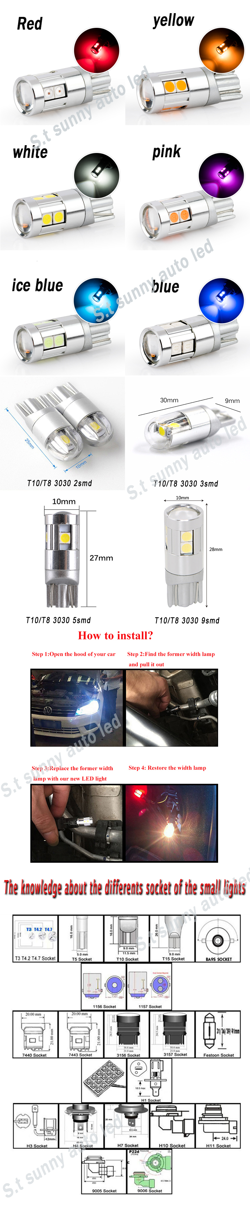 T10 w5w ba9s 5smd 5050 t15 1157 ba15s 2825 led reverse parking light motorcycle taillights