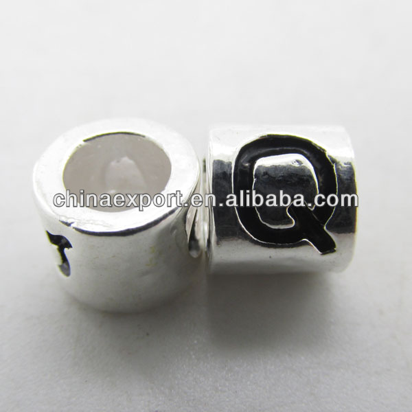 European Style DIY Big Hole Silver Plated Alphabet Beads