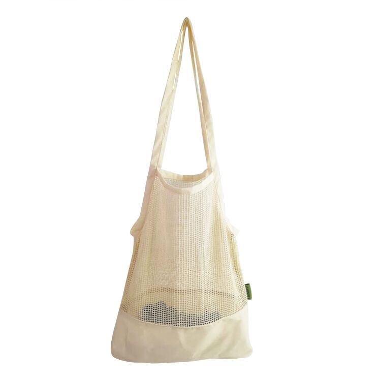 Reusable organic cotton fabric mesh shopping tote bags