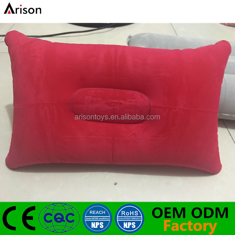 Durable flocked PVC inflatable rectangle camping pillow inflatable foldable napping pillow for office break