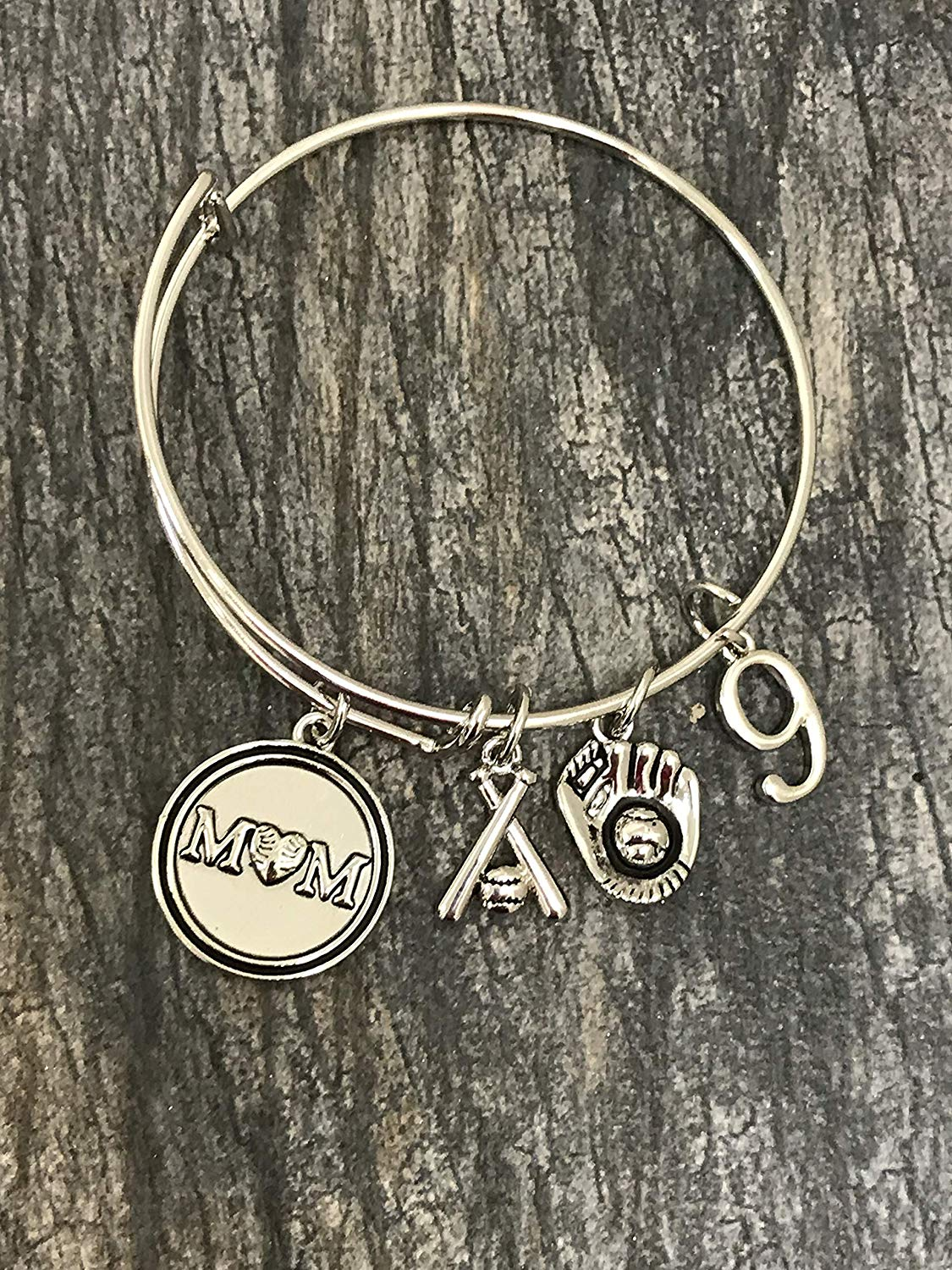 Personalized Baseball Mom Bracelet with Jersey Number Charm-Custom Baseball Jewelry For Moms -Softball Mom Bracelet- Perfect Gift for Baseball Mom