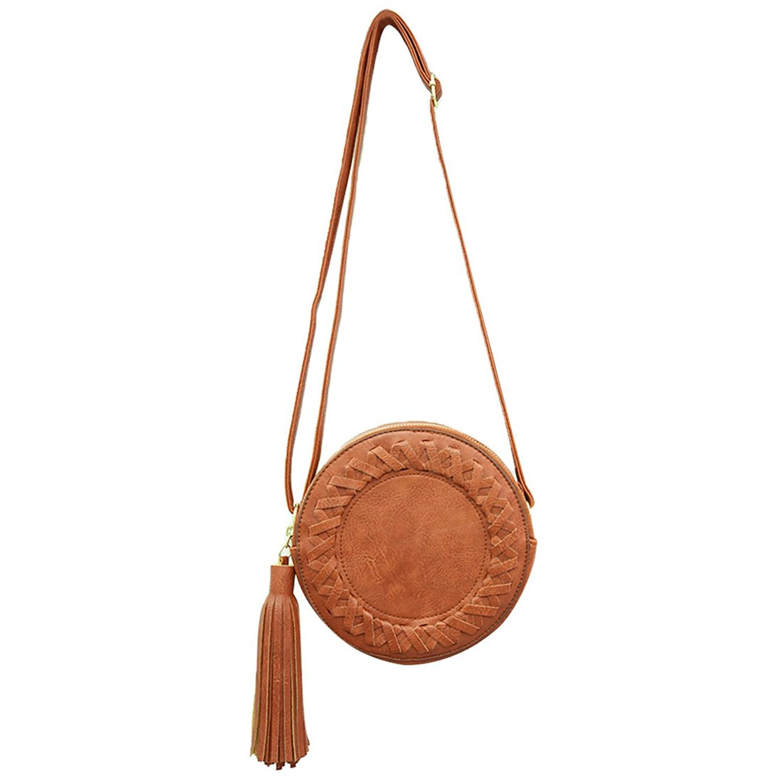 Garyline Fashion Round Women Tassel Bag Woven Crossbody Bags For Womens Shoulder Bag Ladies Cute Knitting Circular Women Messenger Bag