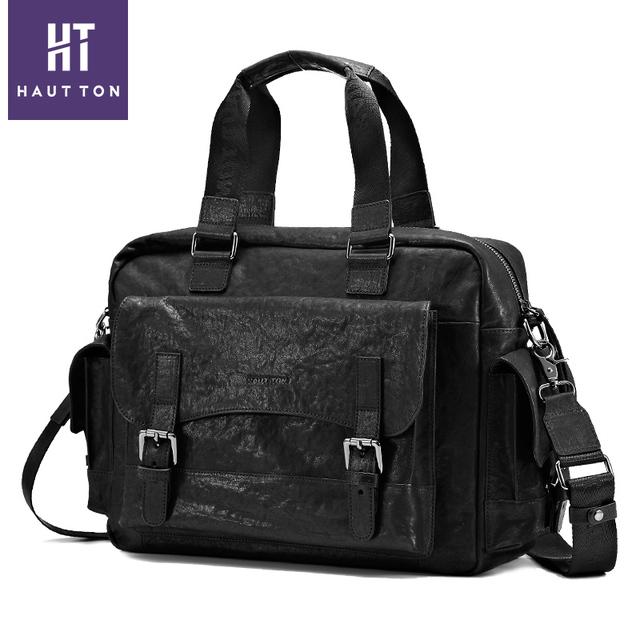 2018 Genuine Cow Vintage Leather Tote Travel Bag Men Clutch Handbag 2752bfbf3a423