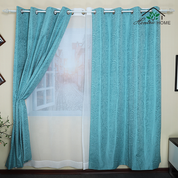 Custom Jacquard Blue Floral Blackout Tab Top Window Treatment Draperies & Noise Reducing Thermal Insulated Curtains