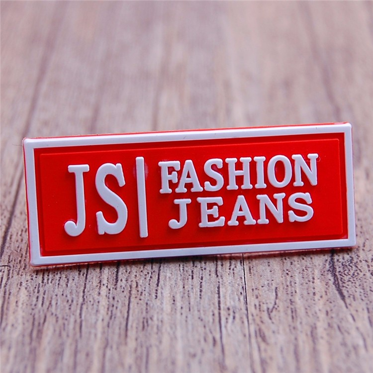 Custom wholesale red pvc labels tags for shirt clothing garment