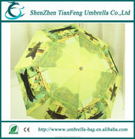 Christmas gift hand open Van Gogh's oil painting 3 folding umbrella