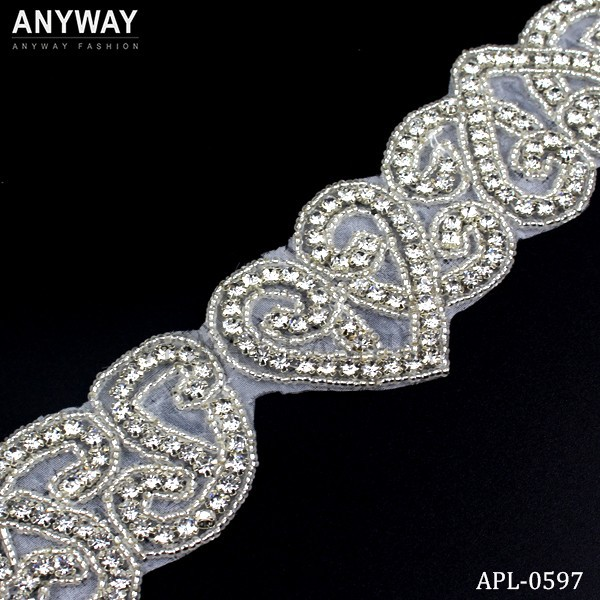 Iron on Clear beaded crystal Rhinestone trimming sash for dress