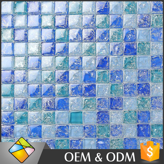 Hot Sale Summer Style Blue Crystal Tile Glass Mosaic