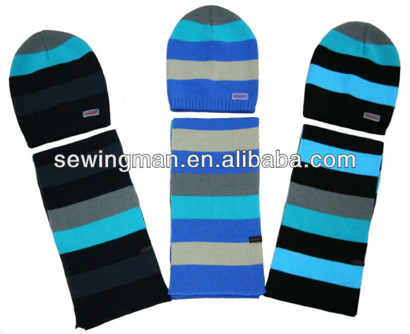 Cold Weather Hat And Scarf Wool Acrylic Striped Knit Hat Scarf Gloves Set