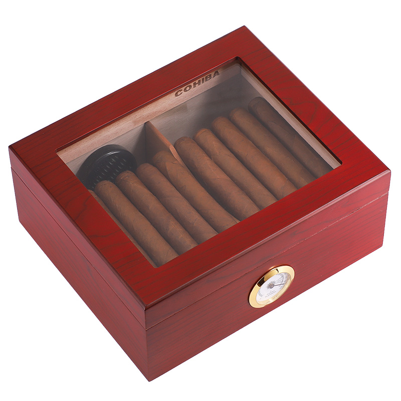 Top glass cedar wood <strong>grain</strong>, red lacquer finishing cigar humidor with factory price