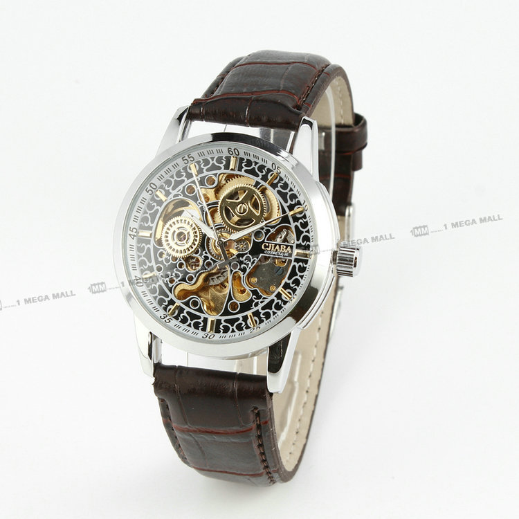 Vintage Mystery Retro Steampunk Antique Men's Automatic Mechanical Wristwatch Brown Leather Strap Luxury Casual Dress Business