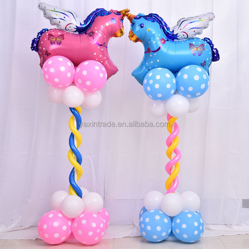 High Quality Blue Pink Unicorn Foil Balloons With Dots Printed Latex Balloons Column Stand Kit For Party Decoration