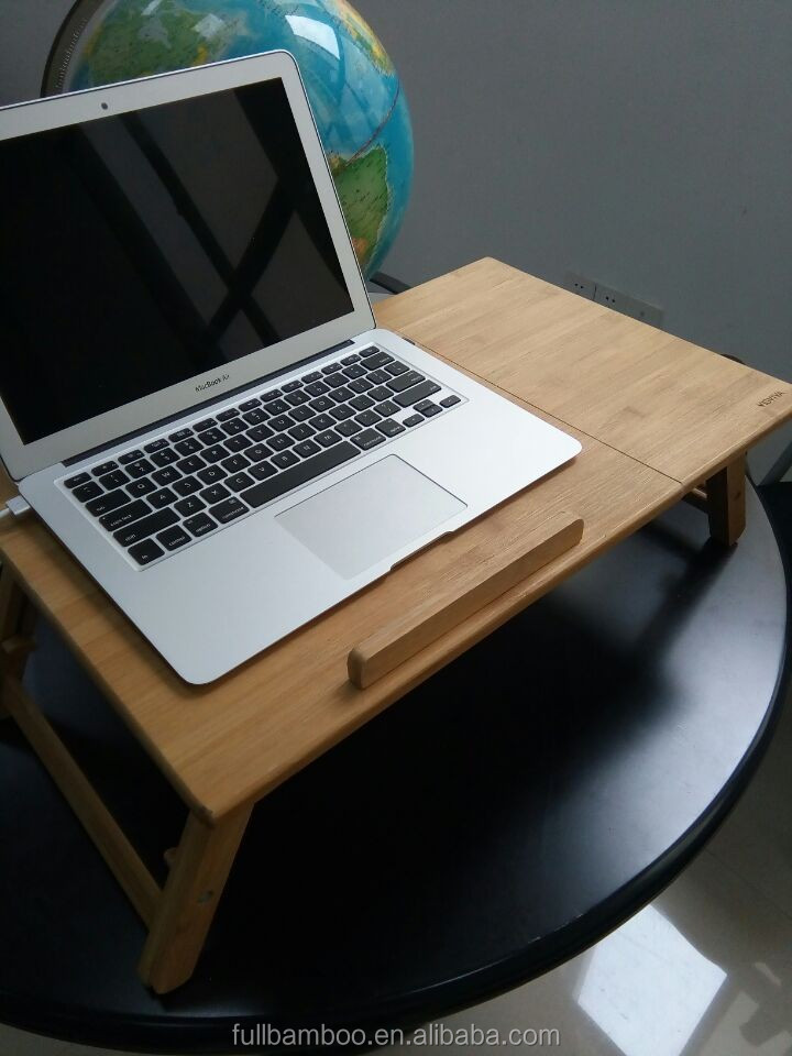 Eco-Friendly Easy Adjustable Small Folding Bamboo Bed Laptop Table