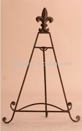 "Wrought Iron Metal 12"" Easel Plate Stand"