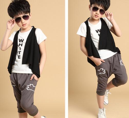 Wholesale short sleeve children summer suits fashion cute three piece pattern suits for baby boys