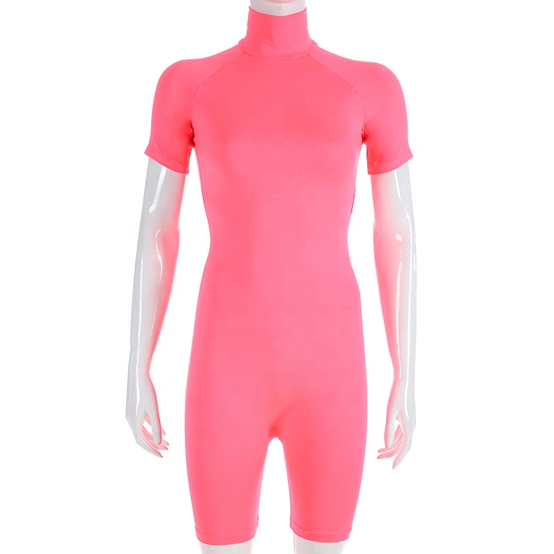2019 new arrival spring sexy woman neon Rompers sexy girl  high-neck slim fluorescent sports jumpsuit